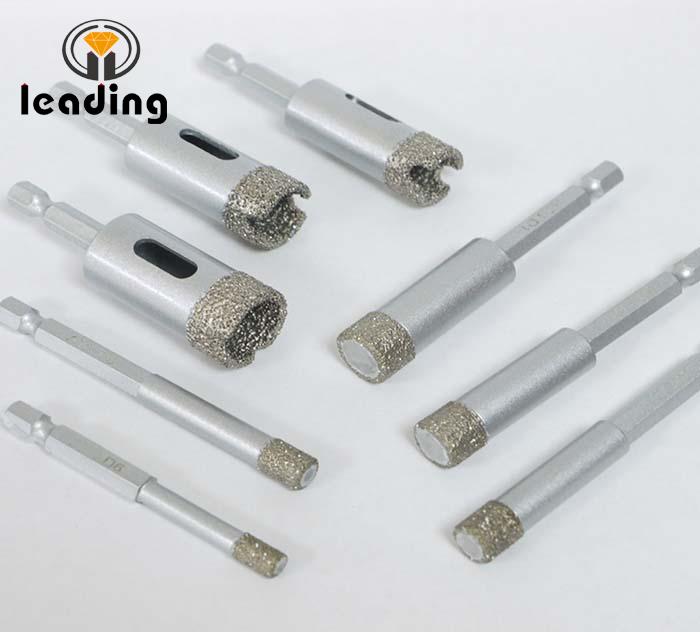 Dry Porcelain Vacuum Brazed Diamond Drill Bits Easy Coupling